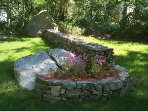 Rockwall and flower garden