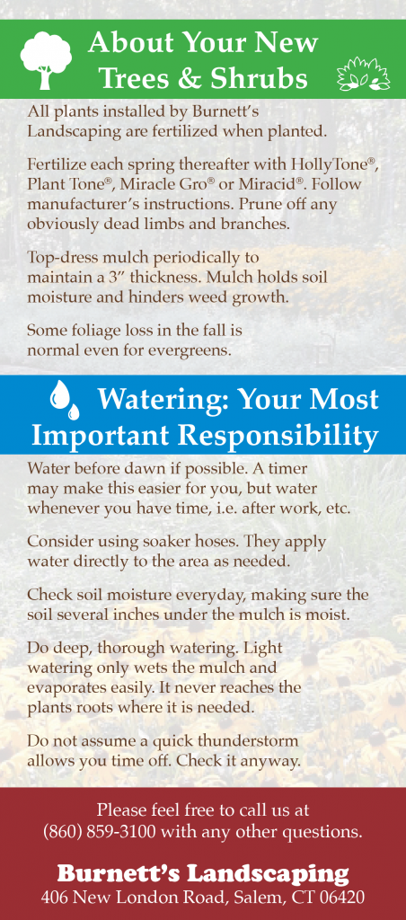Burnettes Landscaping Watering Information Card
